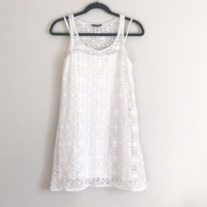 Tommy Bahama White Crochet Cover Swim Dress XS